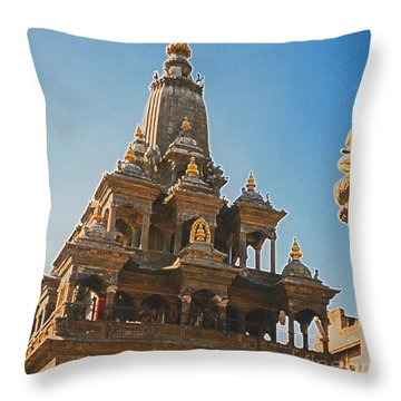 Nepal Temple 2 Throw Pillow by First Star Art