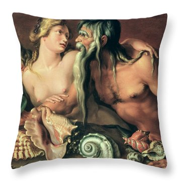 Neptune And Amphitrite Throw Pillow by Jacob II de Gheyn