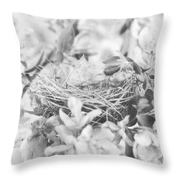 Nest In Black And White Throw Pillow by Stephanie Frey