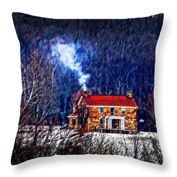 Nestled In For The Winter Throw Pillow by Randall Branham