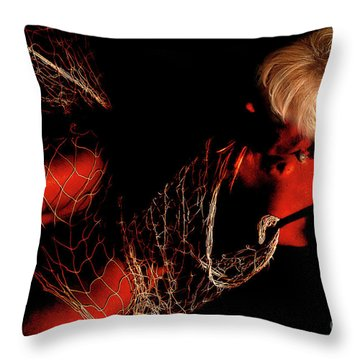 Throw Pillow featuring the photograph Netted A Red by Clayton Bruster
