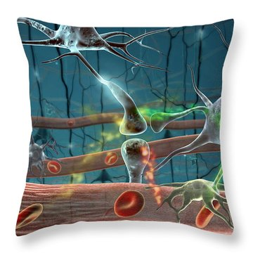 Neurons Throw Pillow by Science Source