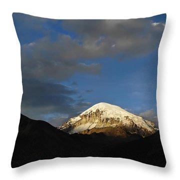 Nevado Sajama At Sunset. Republic Of Bolivia.  Throw Pillow by Eric Bauer