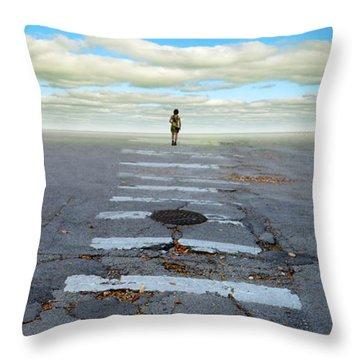 Never Ending Crosswalk Throw Pillow by Jill Battaglia