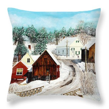 New England Winter Throw Pillow by Stuart B Yaeger