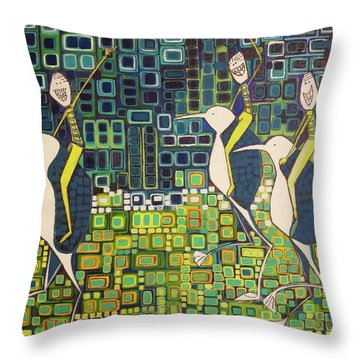 Throw Pillow featuring the painting New Moon Penguin Races by Donna Howard