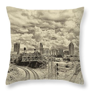 New Old Time Raleigh Nc Throw Pillow