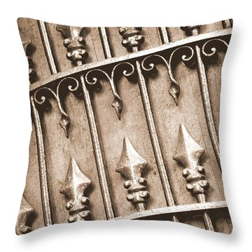 New Orleans Gate - Sepia Throw Pillow by Carol Groenen