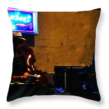 New Orleans Jazz Band Throw Pillow by Bill Cannon