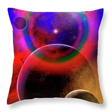 New Planets And Solar Systems Forming Throw Pillow by Mark Stevenson