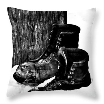 New Shoe Drop Off Throw Pillow by Jerry Cordeiro