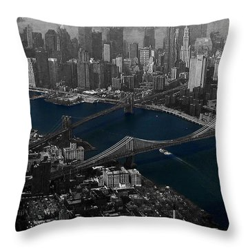 New York Aerial Throw Pillow by Ms Judi