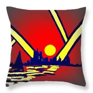 New York At Night Throw Pillow by Connie Valasco