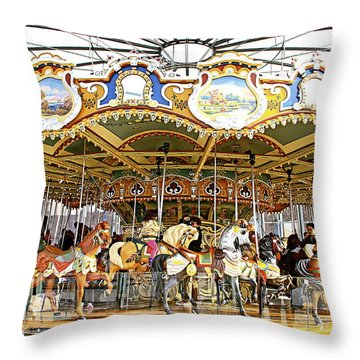 Throw Pillow featuring the photograph New York Carousel by Alice Gipson