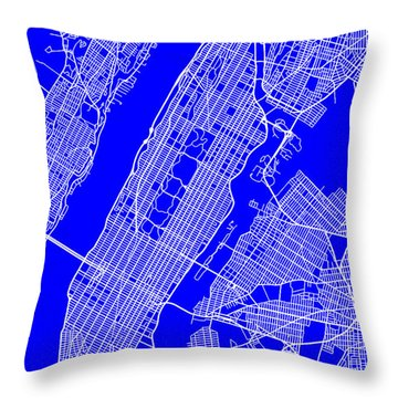 New York City Map Streets Art Print   Throw Pillow