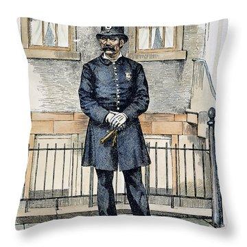 New York City Policeman Throw Pillow by Granger