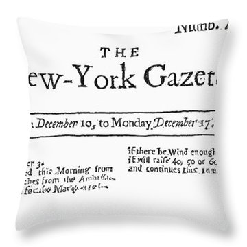 New York Gazette, 1733 Throw Pillow by Granger