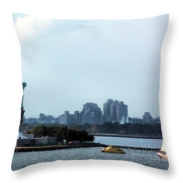 New York Harbor Throw Pillow by Kristin Elmquist