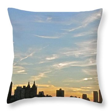 New York Sunset 2 Throw Pillow by Randi Shenkman