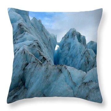 New Zealand Glacier Throw Pillow by JoAnne Rauschkolb