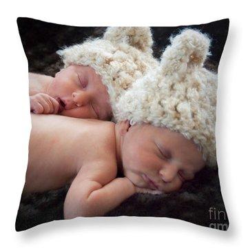 Newborn Twins Throw Pillow