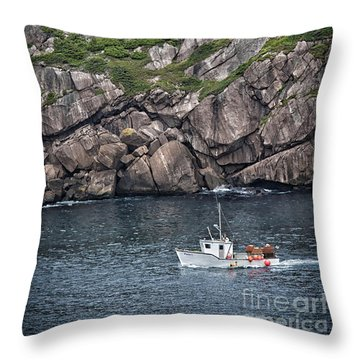 Throw Pillow featuring the photograph Newfoundland Fishing Boat by Verena Matthew