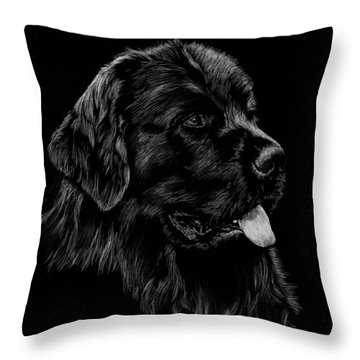 Throw Pillow featuring the drawing Newfoundland by Rachel Hames