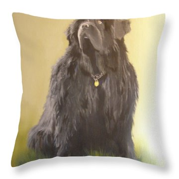 Newfoundland With Ball Throw Pillow