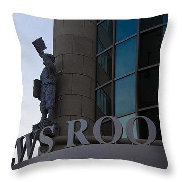 Throw Pillow featuring the photograph News Room by Stephanie Nuttall