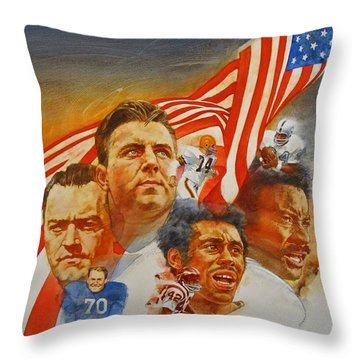 Nfl Hall Of Fame 1984 Game Day Cover Throw Pillow by Cliff Spohn