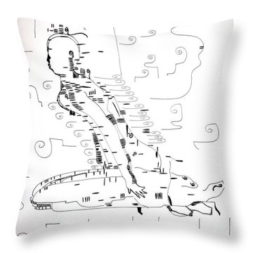 Throw Pillow featuring the drawing Ngwale Dance - Botswana by Gloria Ssali