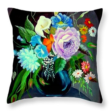 Throw Pillow featuring the painting Niche by Fram Cama
