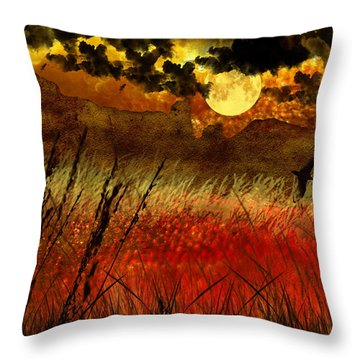 Night Falls Over The Land Throw Pillow by Ellen Heaverlo