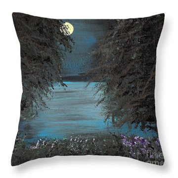Throw Pillow featuring the painting Night In The Bayou by Alys Caviness-Gober