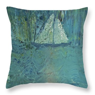 Night Sail Throw Pillow by Wayne Potrafka