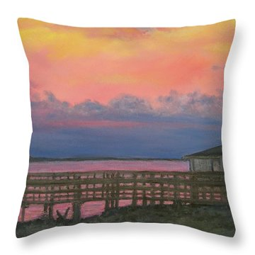 Throw Pillow featuring the painting Night Sky Over Lake Marion by Kathleen McDermott
