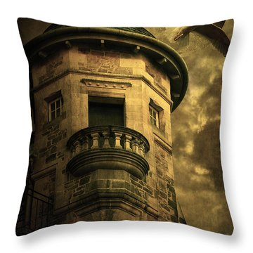 Night Tower Throw Pillow by Svetlana Sewell
