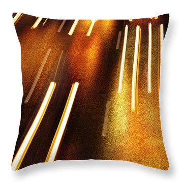 Night Traffic Throw Pillow by Carlos Caetano