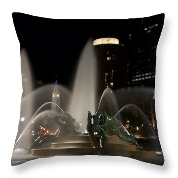 Night View Of Swann Fountain Throw Pillow by Bill Cannon