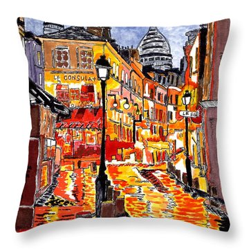 Nighttime In Paris Throw Pillow by Connie Valasco