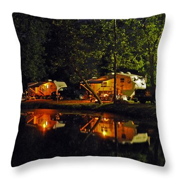 Nighttime In The Campground Throw Pillow