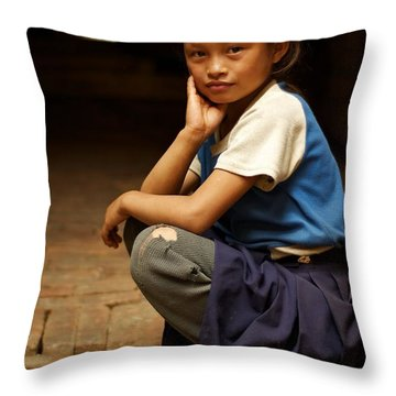 Nine Years Old Throw Pillow by Valerie Rosen