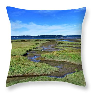 Nisqually Estuary At Low Tide Throw Pillow by Sean Griffin