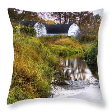 Nisqually Wildlife Refuge P21 The Twin Barns Throw Pillow by David Patterson