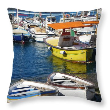 Throw Pillow featuring the photograph No Shortage Of Boats by Nora Boghossian