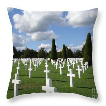 Normandy American Cemetery Throw Pillow by Carol Groenen