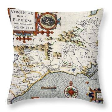 North Carolina Throw Pillow by Jodocus Hondius