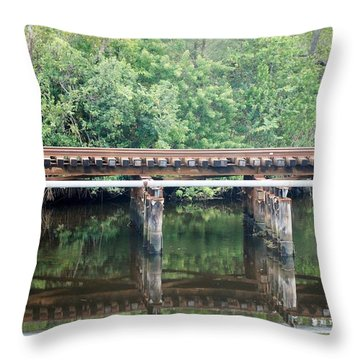 North Fork River Bridge Throw Pillow by Rob Hans