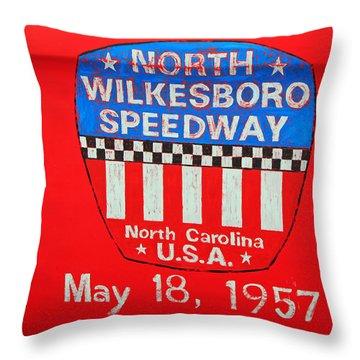 North Wilkesboro Speedway Throw Pillow by Suzanne Gaff