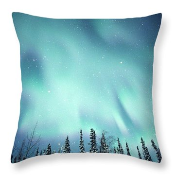 Northern Lights Over Snow Covered Throw Pillow by Robert Postma